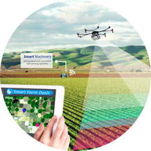 Drone used in monitoring agriculture.