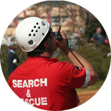 Rescuer using drone in rescue operations.
