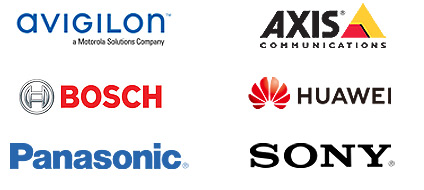 Security Brand Logos - Avigilon, Axis Communications, Bosch, Huawei, Panasonic and Sony.